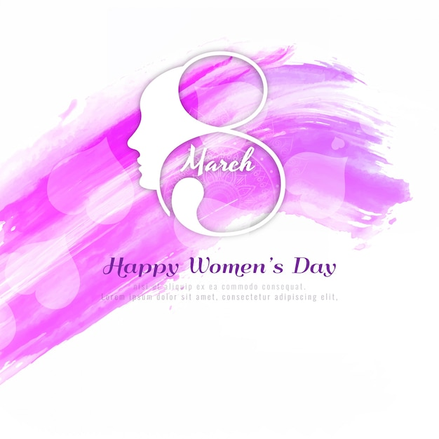 Abstract Happy Women's Day pink background Free Vector