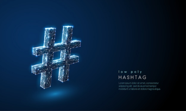 Abstract hash tag symbol. low poly style Premium Vector