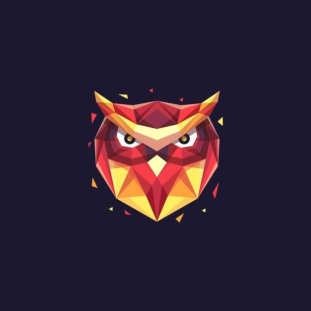 Abstract head owl geometric illustration vector template Premium Vector