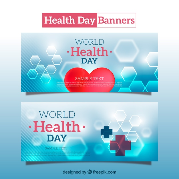 abstract health day banners vector free download