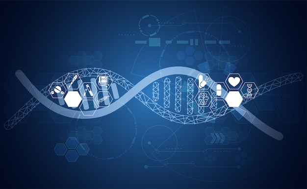 Abstract health dna medical science healthcare background digital technology Premium Vector