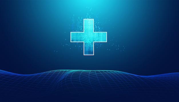 抽象的な健康科学は健康とデジタル技術で構成されています Premiumベクター