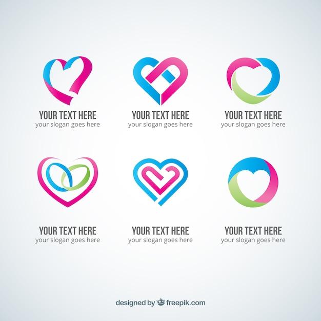 Abstract heart logos Free Vector