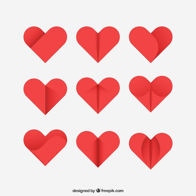 Abstract hearts collection Free Vector