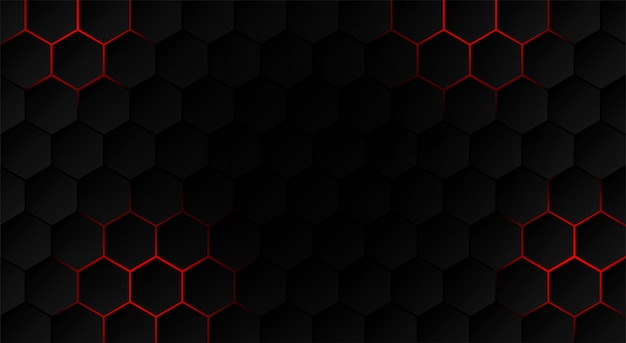 Abstract Hexagon Black Background Red Light And Shadow Premium