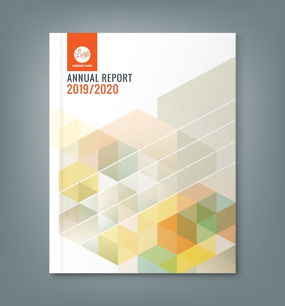Abstract hexagon cube annual report template Free Vector