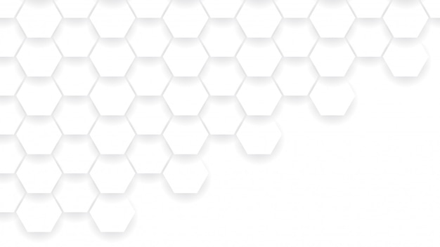 Abstract hexagon shapes composition. white and gray color background. Premium Vector