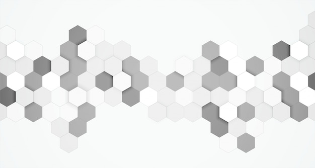 Abstract hexagonal black and white 3d background Free Vector
