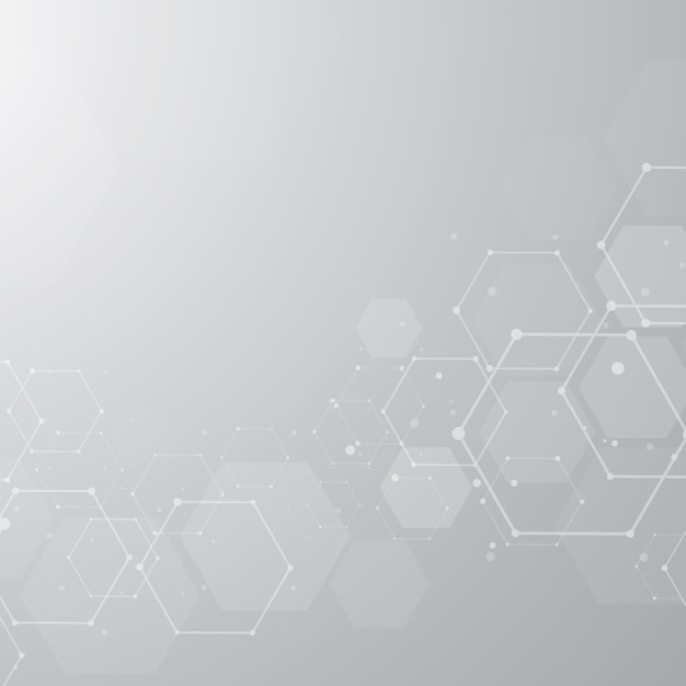 Abstract hexagonal molecular structures background Premium Vector