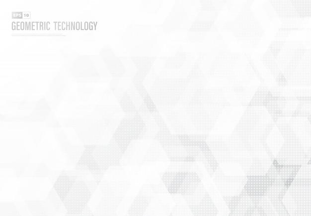 技術アートワークの背景の抽象的な六角形のパターンデザイン。 Premiumベクター