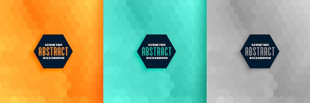 Abstract hexagonal pattern background set of three Free Vector