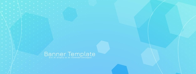 Abstract hexagonal shapes geometric blue banner design Free Vector