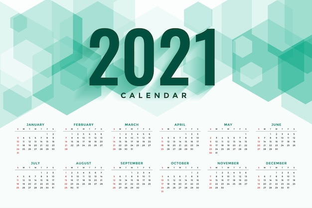 Abstract hexagonal style new year  calendar Free Vector