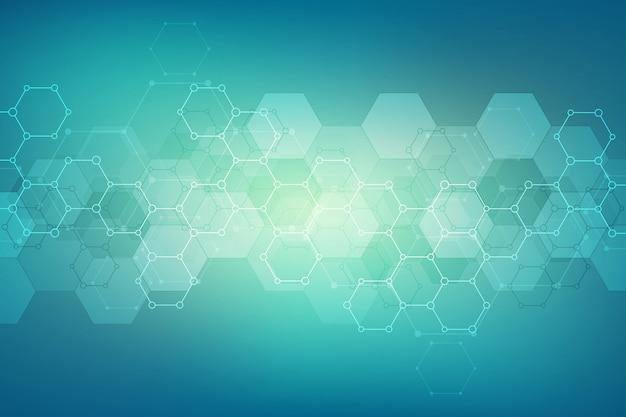 医療または科学および技術のモダンなデザインの抽象的な六角形パターン。分子構造と化学工学の抽象的なテクスチャ背景。 Premiumベクター