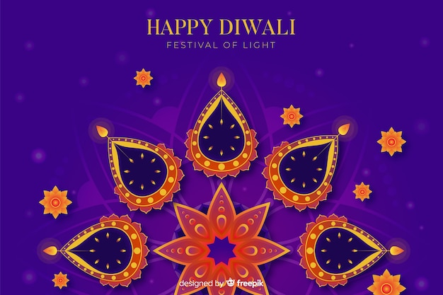 Abstract hindu concept flat diwali background Free Vector
