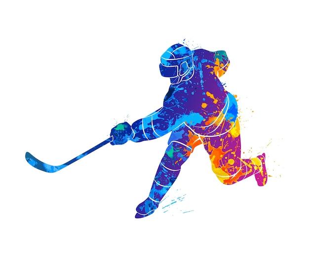 Абстрактный хоккеист из всплеска акварелей. иллюстрация красок. Premium векторы