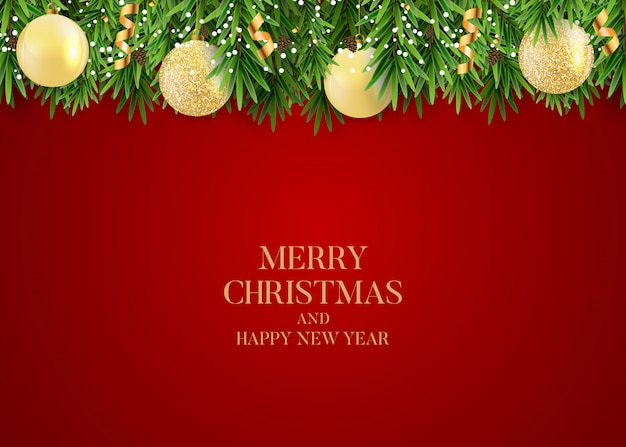 Abstract holiday new year and merry christmas background with realistic christmas wreath Premium Vector