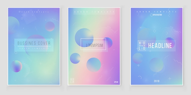 Abstract holographic iridescent background set modern style trends 80s 90s. holographic foil vector Premium Vector