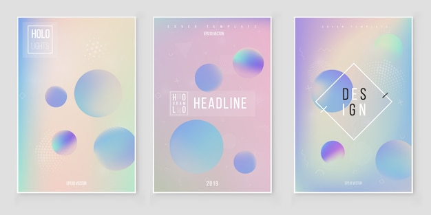 Abstract holographic iridescent cover set modern style trends 80s 90s. holographic foil vector Premium Vector