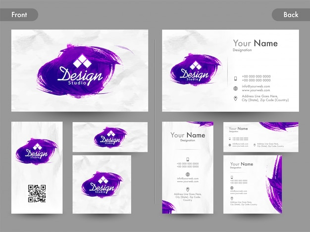Abstract horizontal and vertical business card or visiting card with abstract horizontal and vertical business card or visiting card with abstract purple brush strokes premium reheart Gallery