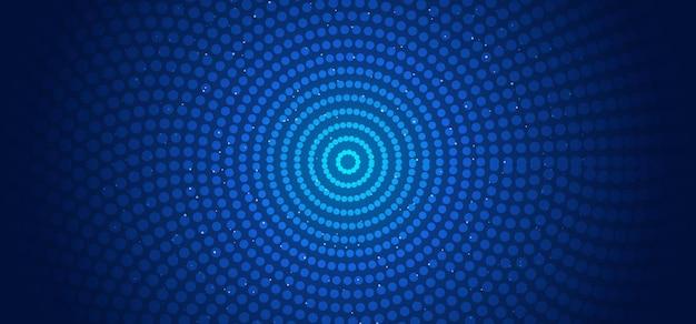 추상 가로 배너 웹 템플릿 원형 패턴 연결 점과 빛나는 입자 파란색 배경. 프리미엄 벡터