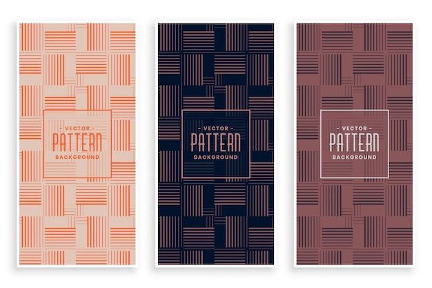 Abstract horizontal and vertical lines pattern set Free Vector