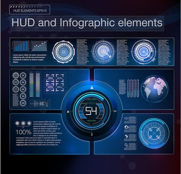 抽象的なhudインターフェイス要素。仮想背景。図。 Premiumベクター
