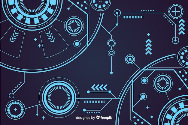 Abstract hud technology background design Free Vector