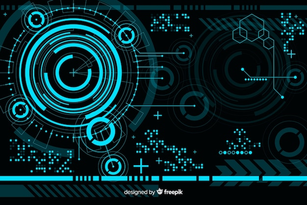 Abstract hud technology background Free Vector