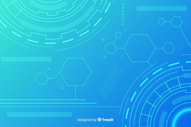 Абстрактная технология hud синий фон Premium векторы