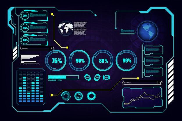 Abstract hud ui gui future futuristic screen system virtual background Premium Vector