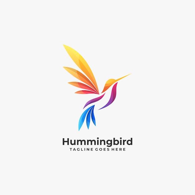 Abstract humming bird colorful logo. Premium Vector