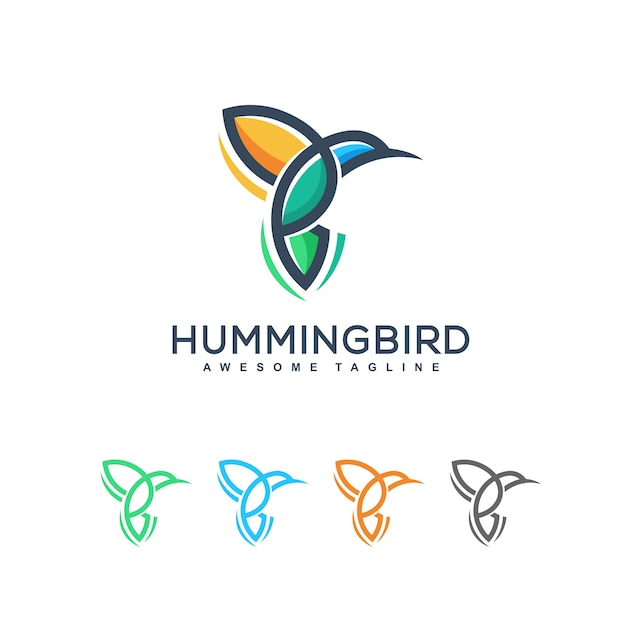 Abstract humming bird illustration vector design template Premium Vector