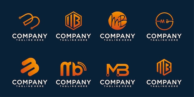 文字b、mbアイコンロゴデザインテンプレートの抽象的なアイコン Premiumベクター