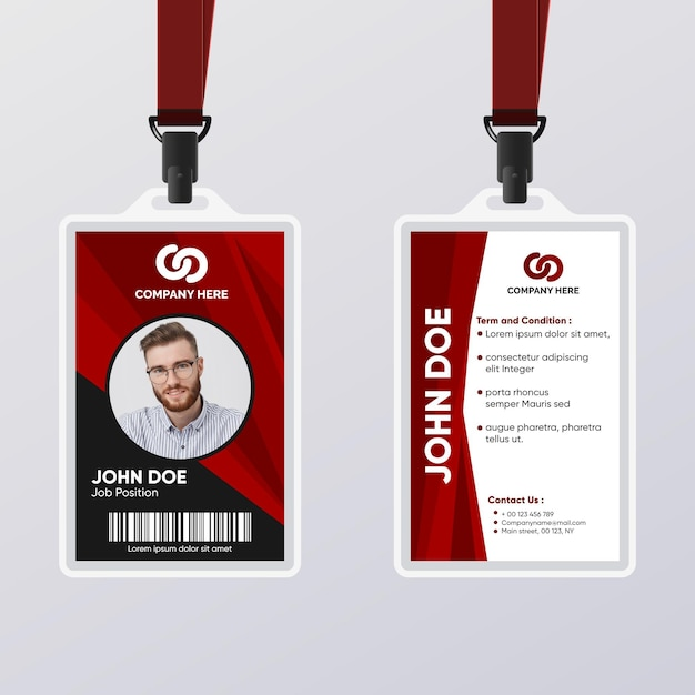 Abstract id card for male worker Free Vector