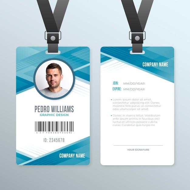 Абстрактная тема шаблона удостоверения личности Premium векторы