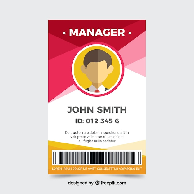 Abstract id card template with flat design Free Vector