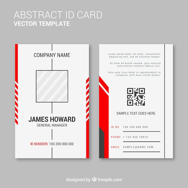 abstract id card template with flat design vector free download