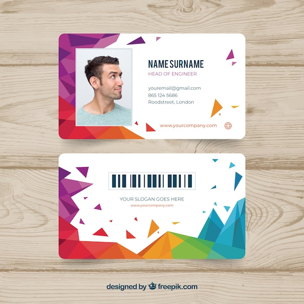 Abstract id card template with geometric style Free Vector