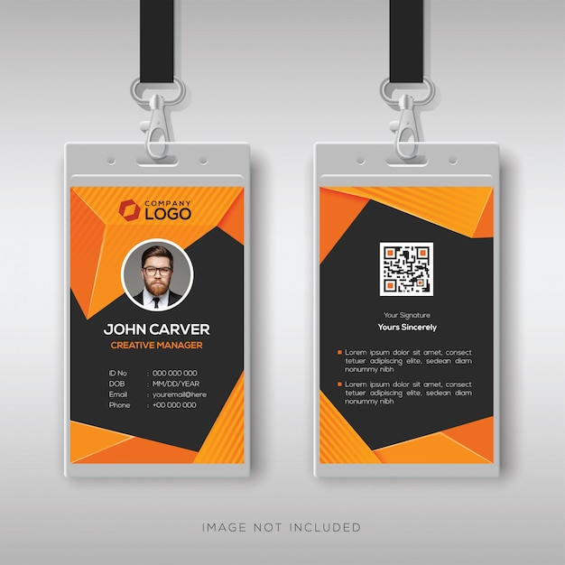 Abstract id card template with geometric style Premium Vector