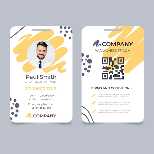 Abstract id card template with photo place holder Premium Vector