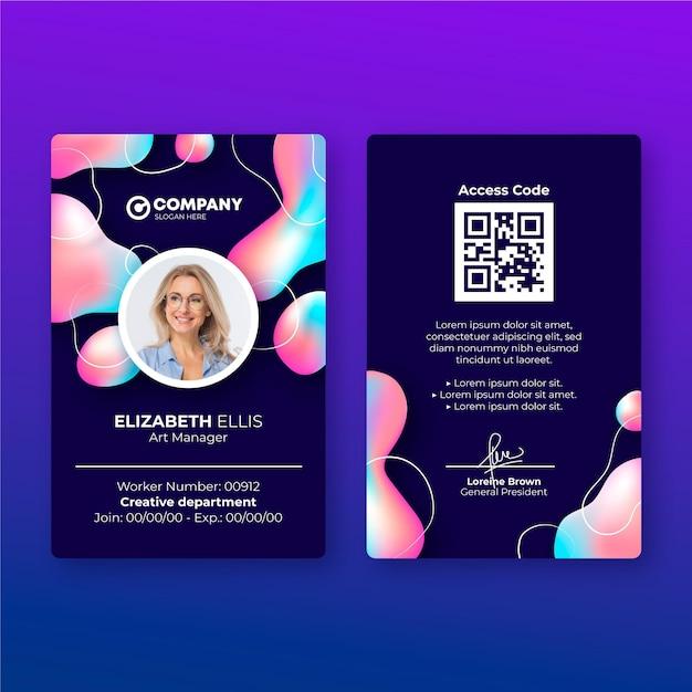 Modello astratto di carta d'identità con foto Vettore gratuito