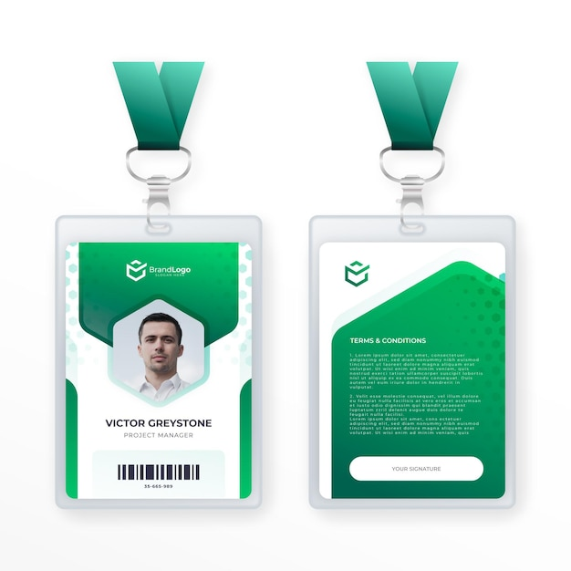 Abstract id card template Premium Vector