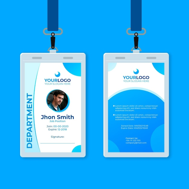 Abstract id card with photo and blue shapes Free Vector