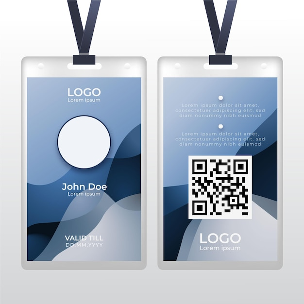 Abstract id card with photo space Free Vector
