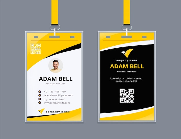 Carta d'identità astratta con foto Vettore gratuito