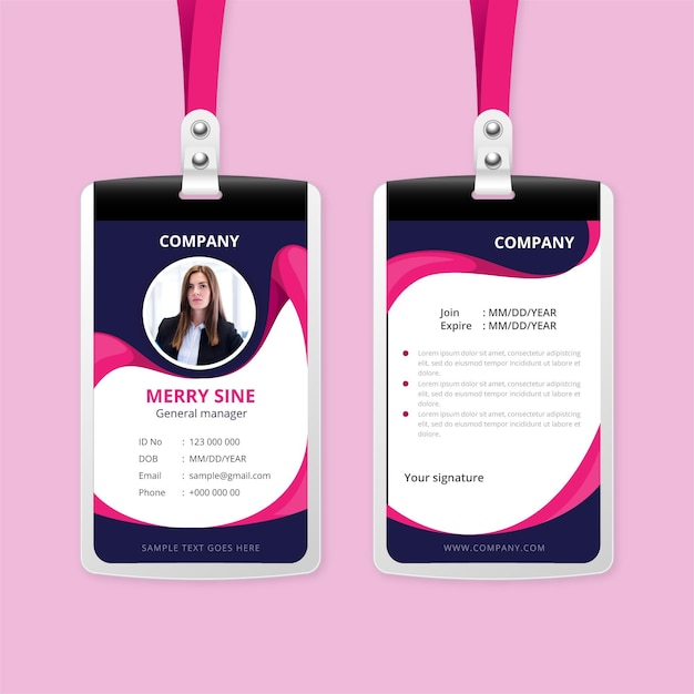 Abstract id cards concept Free Vector