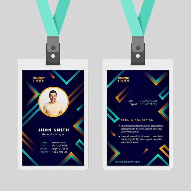 Abstract id cards template style Free Vector