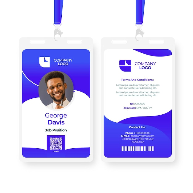 Abstract id cards template with image Free Vector