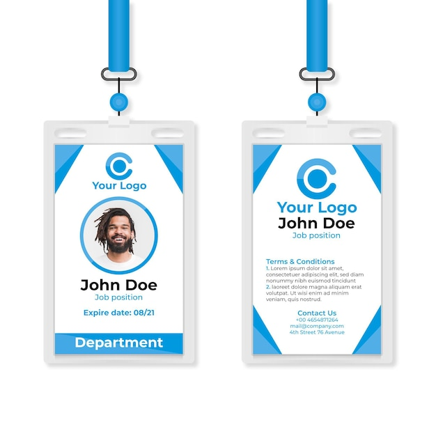 Abstract id cards template with photo Free Vector